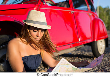 Vacations finally! Let's go! - Woman going on a roadtrip in...