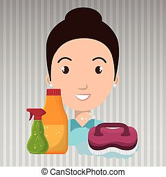woman cartoon clear brush cleaning