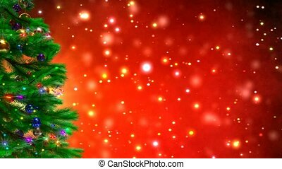 Christmas tree on red bokeh background 3D render - rotating...