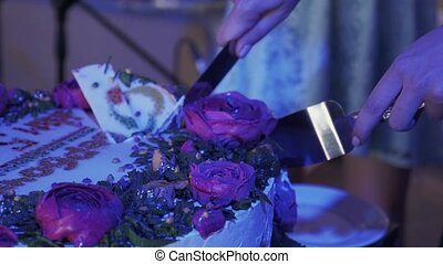 Woman cut huge cake with pink roses by knife at celebration event. Purple light