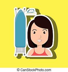 cartoon woman board ironing clothes