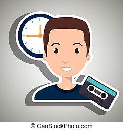 man cartoon cassette