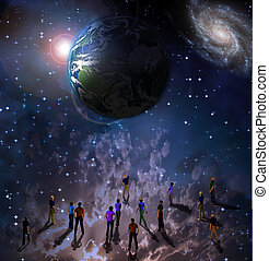 Earths Souls - Group of people upward point at earth