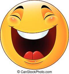 Cartoon smiley emoticon laughing