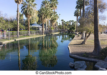 Enchanted Island in Encanto Park, Phoenix, AZ - Bridge over...