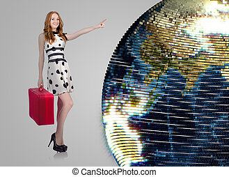 Woman in world travel concept