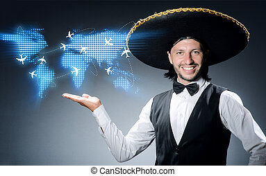 Mexican man in air travel concept