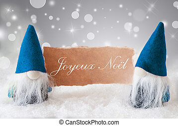 Blue Gnomes With Card, Joyeux Noel Means Merry Christmas -...