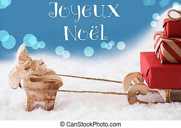 Reindeer, Sled, Light Blue Background, Joyeux Noel Means...