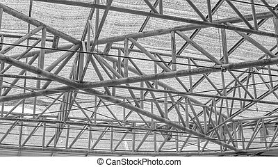 steel roof truss, steel structure frame in black and white...