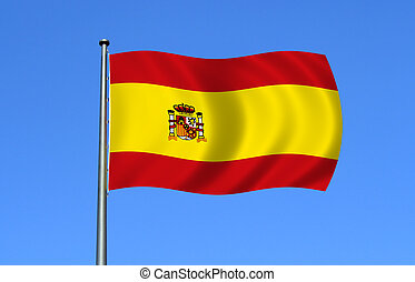 spanish flag on the sky