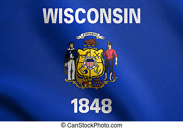 Flag of Wisconsin waving with fabric texture - Wisconsinite...