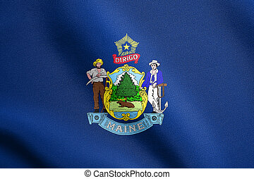 Flag of Maine waving with fabric texture