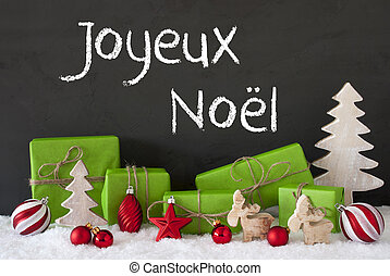 Decoration, Cement, Snow, Joyeux Noel Means Merry Christmas...
