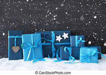 Blue Christmas Gifts, Black Cement Wall, Snow, Snowflakes -...