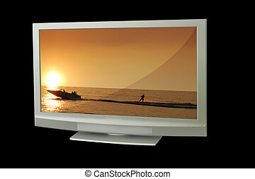 Display - tv with sunset background