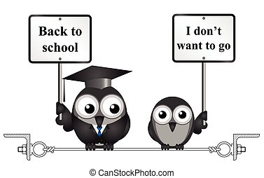Back to school - Comical teacher with back to school message...