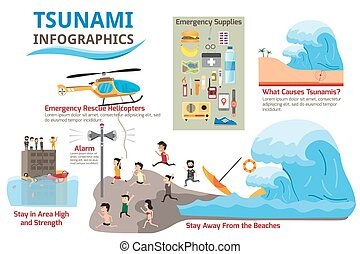 Tsunami with survival and earthquake infographics elements....
