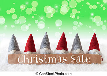 Gnomes, Green Background, Bokeh, Stars, Text Christmas Sale...