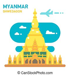 Flat design Shwedagon pagoda illustration vector