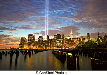New York with Tribute in Light - New York City Manhattan...