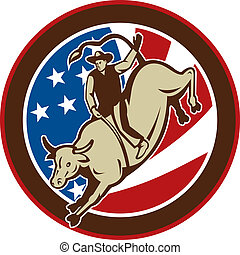 Rodeo cowboy bull riding with stars and stripes in the...