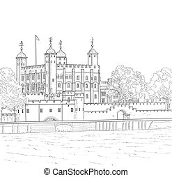 Drawing Tower of London - Sketch Tower of London in London,...