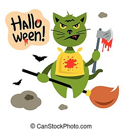 Vector Halloween Cat flying on Witch Broomstick Cartoon...