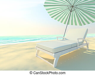 Beach chair and umbrella on idyllic tropical sand beach.