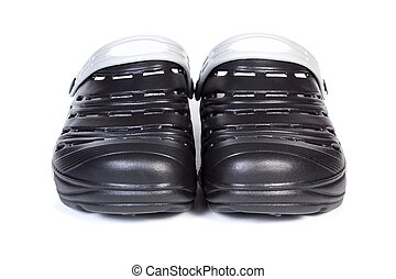 Black rubber slippers, for use at work and on vacation -...