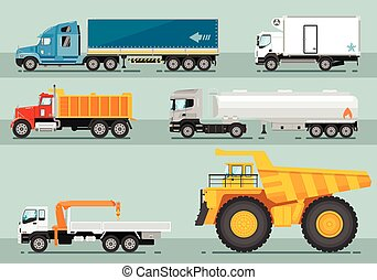 Collection of Trucks Flat Style Illustrations - Different...