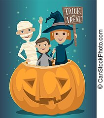 Kids in Halloween costumes mummies, vampire and witches are...