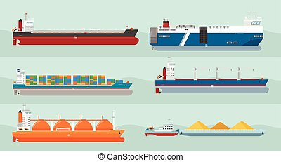 Collection of Cargo Ships Flat Style Illustrations - Set of...