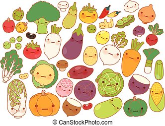Template - Collection of lovely fruit and vegetable icon ,...