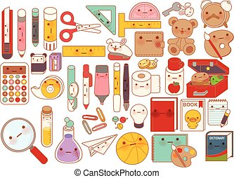 Template - Collection of lovely baby stationery character...