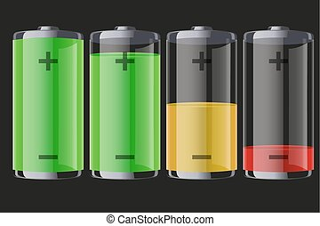 Set of rechargeable batteries with indication level of full...