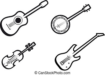 Music instruments - Set of string musical instruments for...