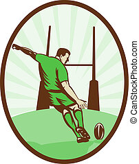 Rugby player kicking ball at goal post viewed from the rear set inside an ellipse done in retro style.