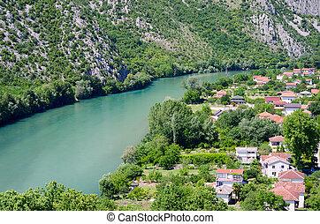 View on Neretva river in Pocitelj, Bosnia and Herzegovina.
