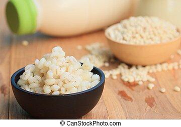 soymilk and barley seed