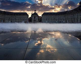 Miroir d'Eau at Place de la Bourse in Bordeaux