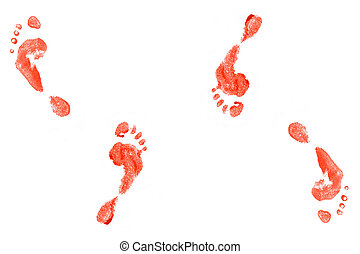 foot prints - Spooky foot prints isolated on white