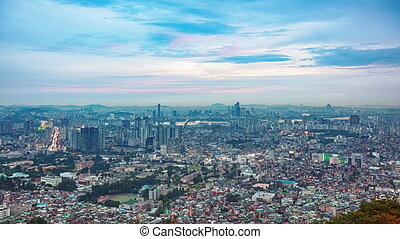 Seoul sunset skyline time lapse panorama, view from N Seoul...