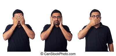 See no evil, hear no evil, speak no evil - Asian man,...