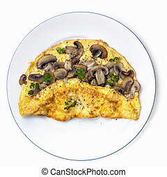 Mushroom Omelet on Plate Top View Isolated