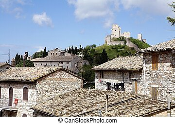 Rocca Maggiore, Assisi, Italy. Rocca Maggiore dominated by...