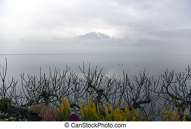 Beautiful view by a misty morning on Lake Geneva, a surreal...