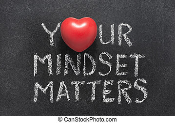 your mindset matters phrase handwritten on blackboard with...