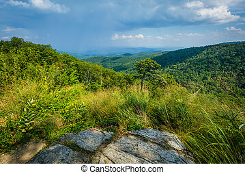 View of the Blue Ridge Mountains from Skyline Drive in Shenandoah National Park, Virginia.