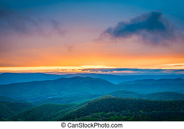 Colorful spring sunset over the Blue Ridge Mountains, seen...